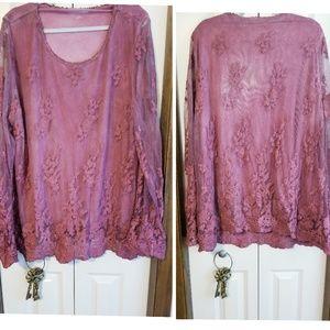 Soft Surroundings soft tie dye lace top sz 3X